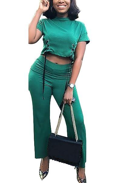 54612d06871 Amazon.com  Women Sexy Short Sleeve Bandage Crop Top 2 Piece Outfits High  Waist Wide Leg Long Pants Plus Size Party Club  Clothing