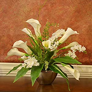White Calla Lily and Orchid Silk Flower Arrangement 110
