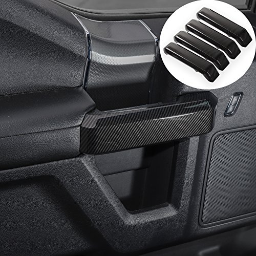 (Voodonala Carbon Fiber Grain Inner Door Handles Cover Trim Kit Interior Accessories for Ford F150 2015 2016 2017)