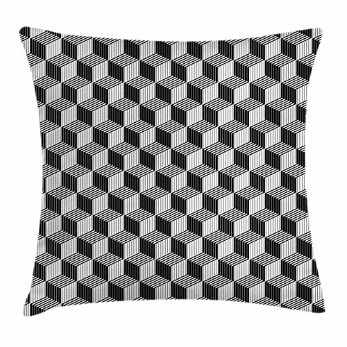 Black and White Throw Pillow Cushion Cover by Lunarable, 3D Style Boxes in Geometrical Design with Optical Effect Striped Cubes, Decorative Square Accent Pillow Case, 26 X 26 Inches, Black - Shop Design Furniture Optical