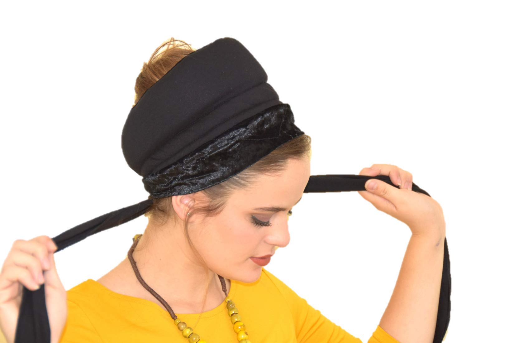Sara Attali Design BoboBand, Big Volume & Non-Slip Headband Great under Headband Tichel Black