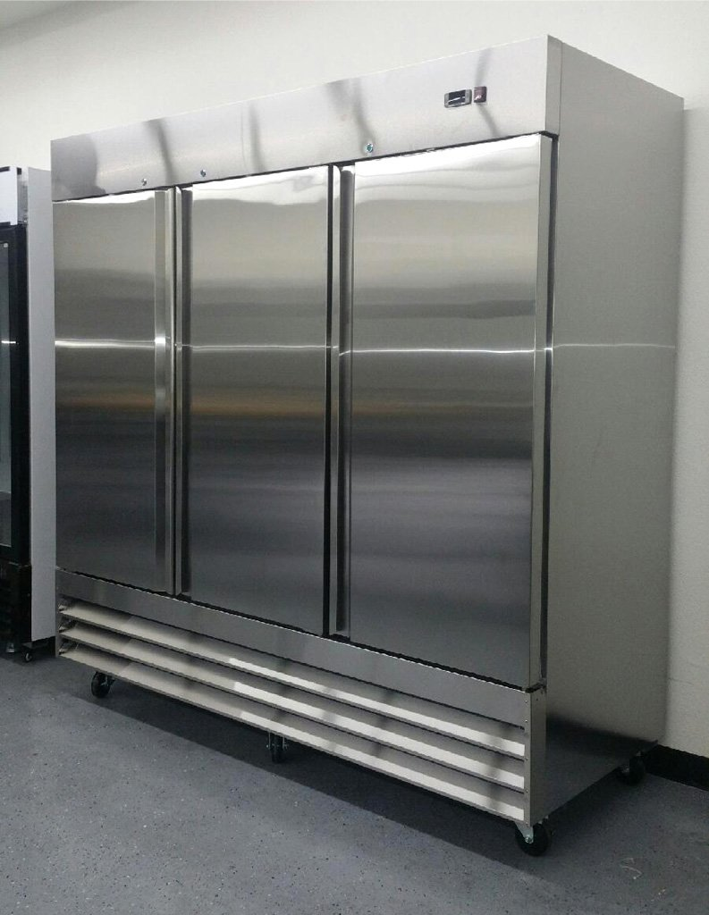 "81"" Upright Stainless Steel 3 Door Commercial Refrigerator, 72 Cubic Feet, CFD-3RR, for Restaurant"