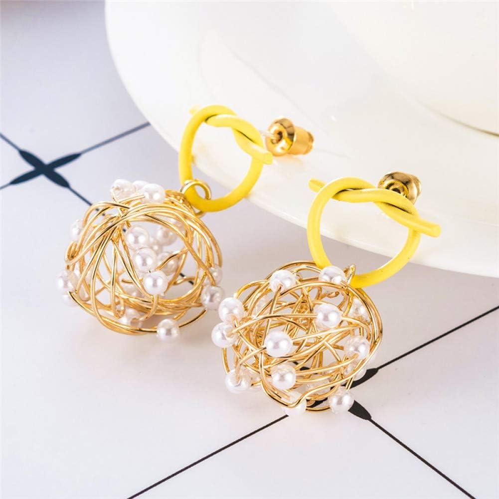 ZHQJY Pendientes de Bolas de Perlas de Dibujo Amarillo para Mujeres Pendientes Colgantes Joyas para niña Fiesta Encantadora