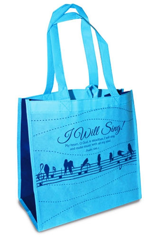 I Will Sing BirdノートPsalm 108 : 1ブルー再利用可能な12 x 12 Eco Friendlyトートバッグパックof 6 B0722ZJLN3