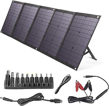BigBlue 100W Cargador Solar Plegable Solar Panel con PD 45W Tipo-C, Dual USB Puertos y 12-18V DC Salida para Generador Portátil, Teléfono Celular o ...
