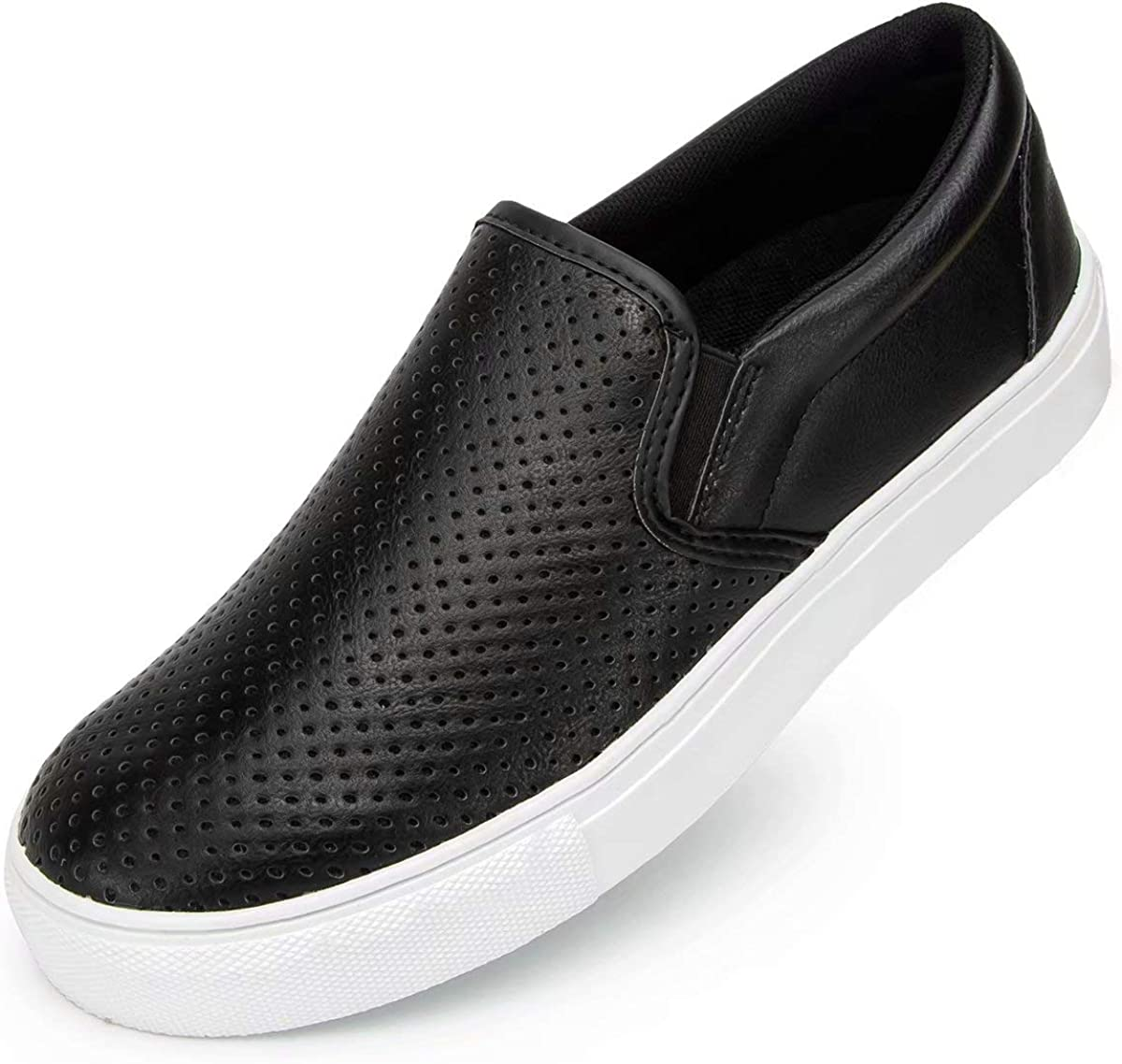 Lxso Womens Slip On Sneakers Loafer Shoes,Casual Memory Foam Perforated Slide On Shoes
