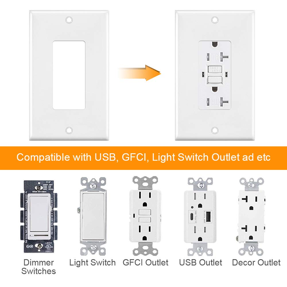 Outlet Covers, 1 Gang Decorator Wall Plates Light Switch Cover White Electrical GFCIs Receptacle Wallplate, Standard Size, Unbreakable Polycarbonate, 12 Pack by CRANACH (Image #6)