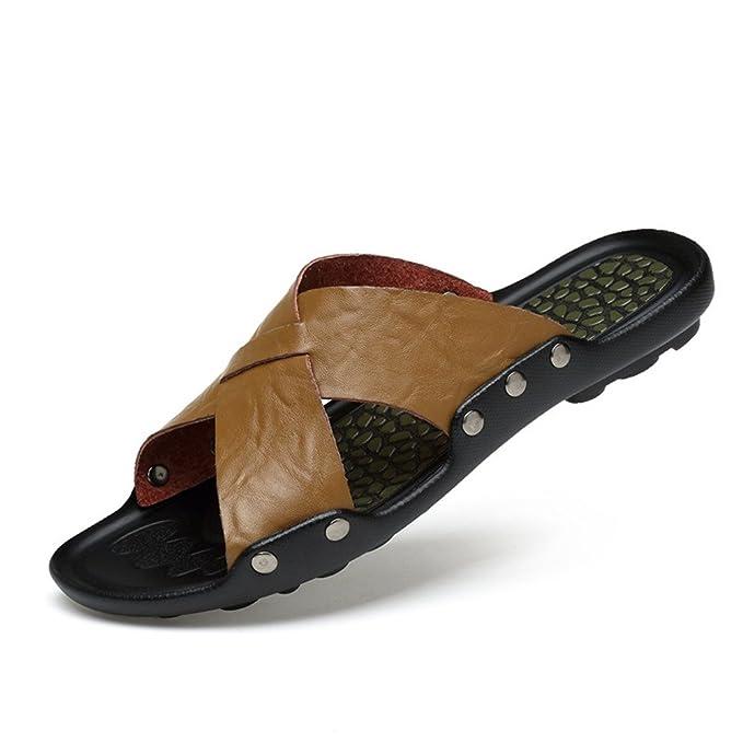 Sharon Zhou Pantuflas de Cuero Genuino de los Hombres Chanclas de los Hombres Zapatillas de Playa de Verano Sandalias Casuales (Color : Black, ...
