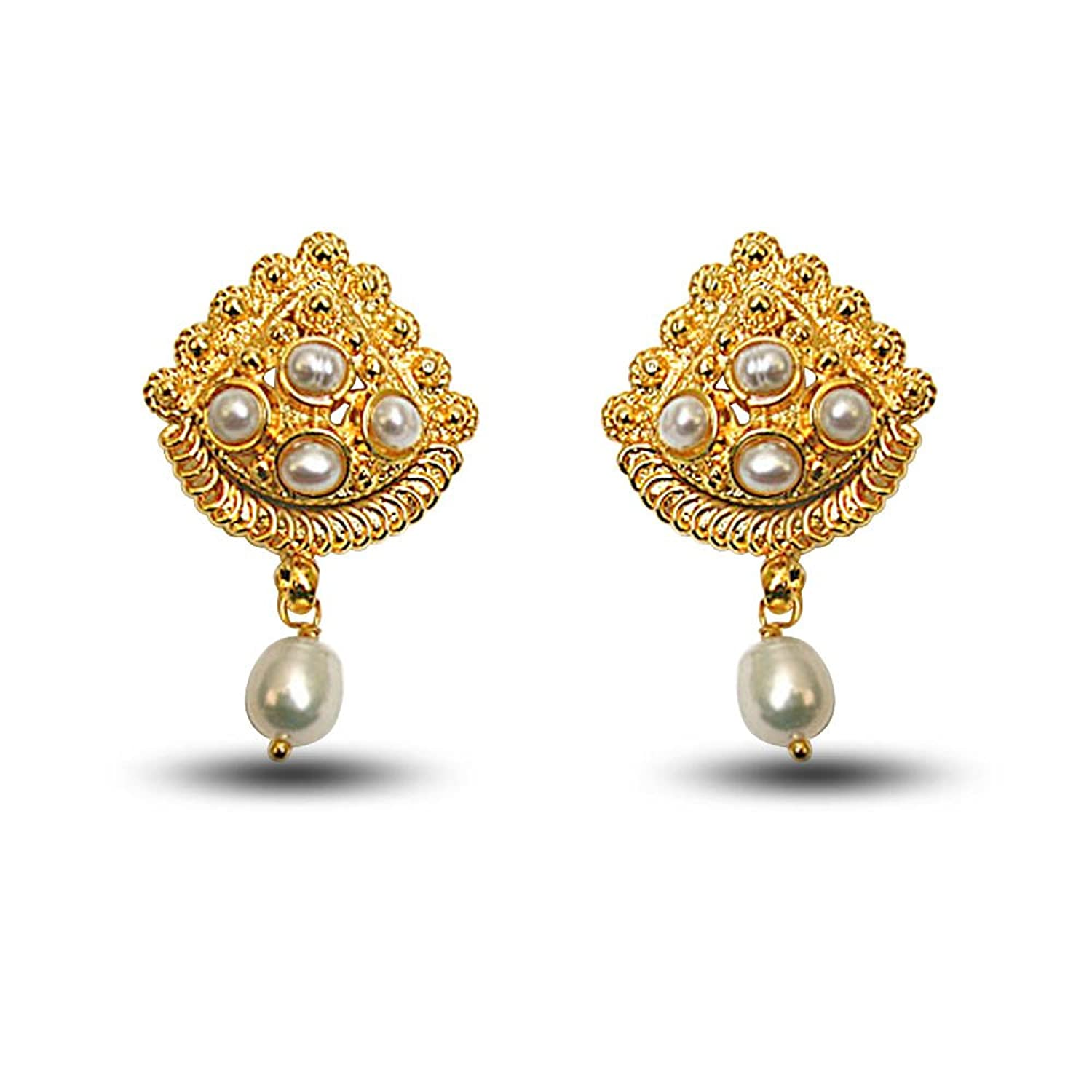 Buy Surat Diamonds Gold-Plated Stud Earring For Women Gold - SE140 ...