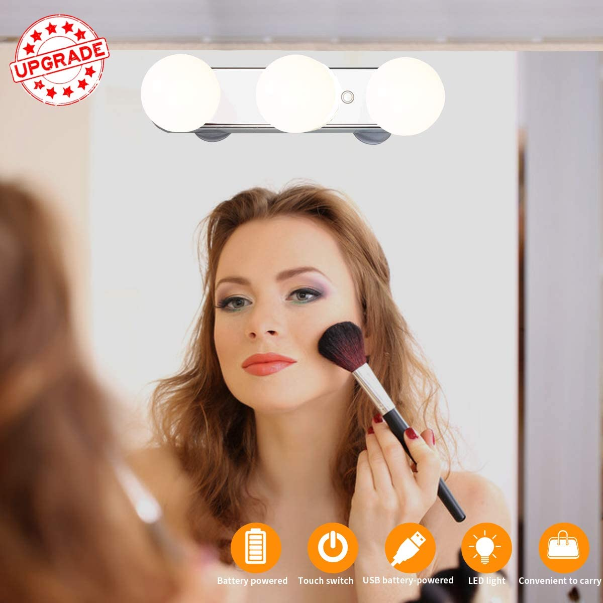 Wireless LED Vanity Lights, Upgrade Brightness Travel Portable Makeup Mirror Lights with 5 Mode Lights for Bathroom,Hotel,Washrooms.Support USB Cable and Battery Operated Vanity Lights White