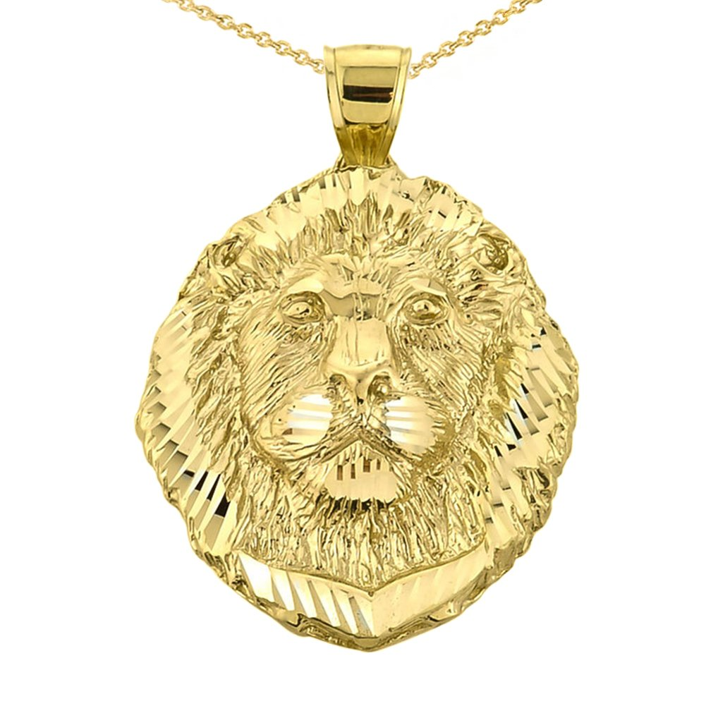 Solid 10k Sparkle Cut Lion Head Pendant Necklace in Yellow Gold, 16''