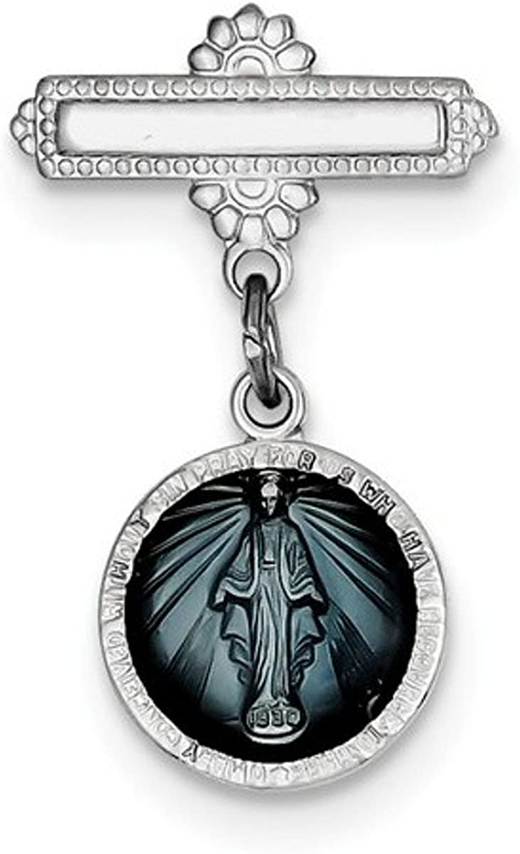 Rhodium-Plated Sterling Silver Miraculous Medal Pin 28X18MM