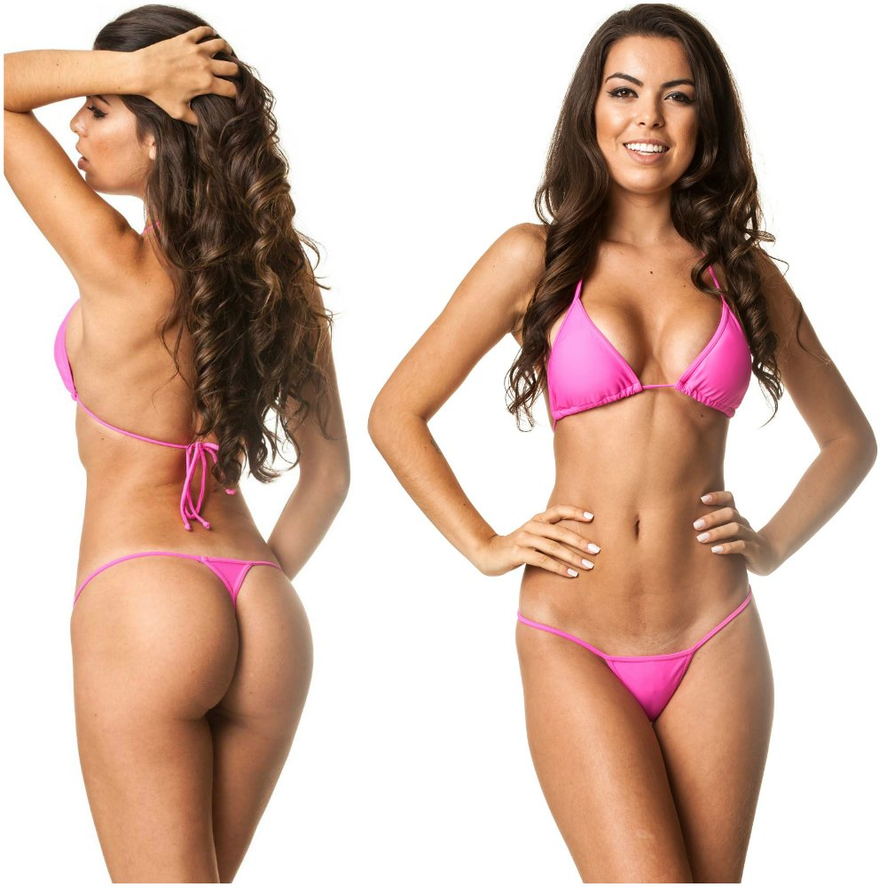 fc52ca8b3d821 Galleon - Coqueta Swimwear Brazilian Teeny Micro Thong Mini Bikini Swimsuit  G String Pink-LG