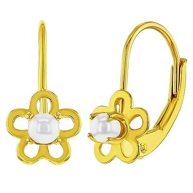 Or Argent Sterling 925 Avec Perle Artificielle Fleur Boucles D