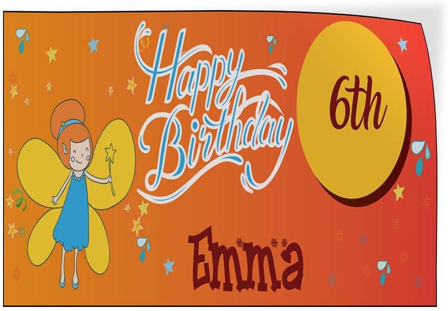 Custom Door Decals Vinyl Stickers Multiple Sizes Happy Age Birthday Girl Name B Lifestyle Happy Birthday Signs Outdoor Luggage /& Bumper Stickers for Cars Orange 27X18Inches Set of 10