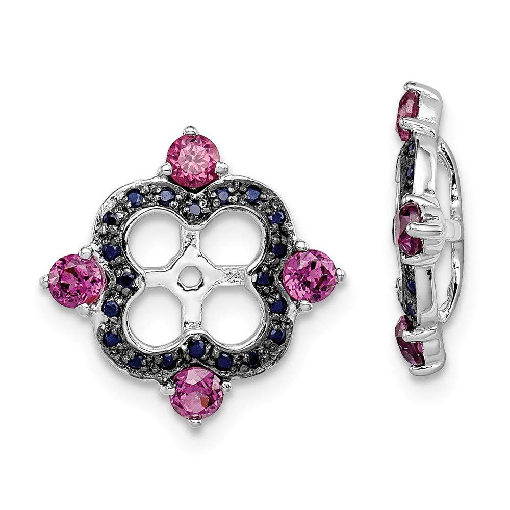 FB Jewels Solid Sterling Silver Rhodium Rhodolite Garnet /& Black Sapphire Earring Jacket