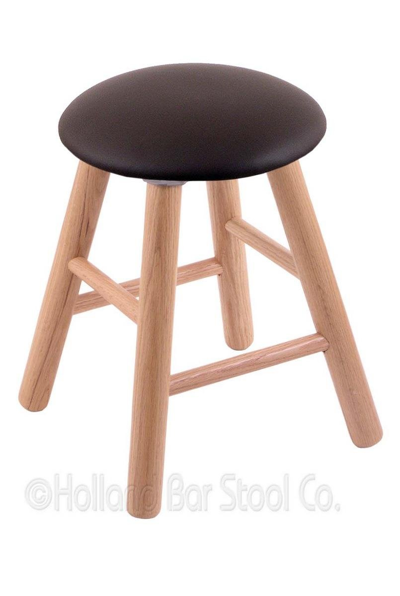 Oak Vanity Stool in Natural Finish with Allante Espresso Seat