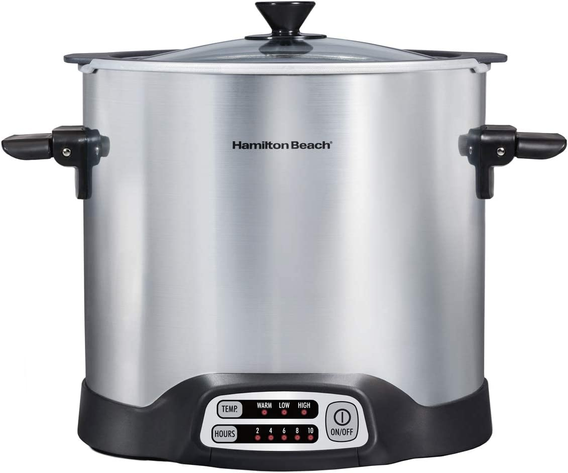 Hamilton Beach Sear & Cook Stockpot Stock Pot Slow Cooker with Stovetop Safe Crock, Large 10 Quart Capacity, Programmable, Silver (33196)