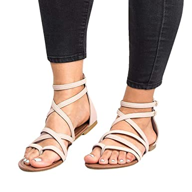 1e27b3502 sweetnice Women Shoes Womens Gladiator Strappy Flat Sandals Open Toe Criss  Cross Strap Ankle Wrap Summer