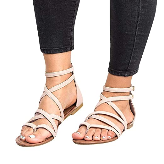 8aa162c7fd970 sweetnice Women Shoes Womens Gladiator Strappy Flat Sandals Open Toe Criss  Cross Strap Ankle Wrap Summer Beach Thongs Sandals