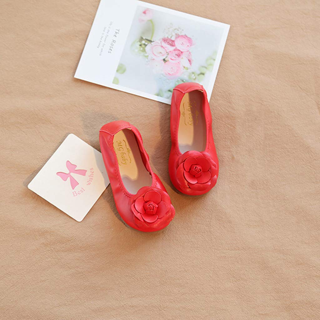 ZOMUSAR Baby Girls Dancing Shoes Flower Ornament Shoes Non-Slip Casual Leather Shoes