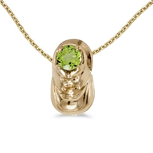 "14k Yellow Gold Round Peridot Baby Bootie Pendant with 18"" Chain"