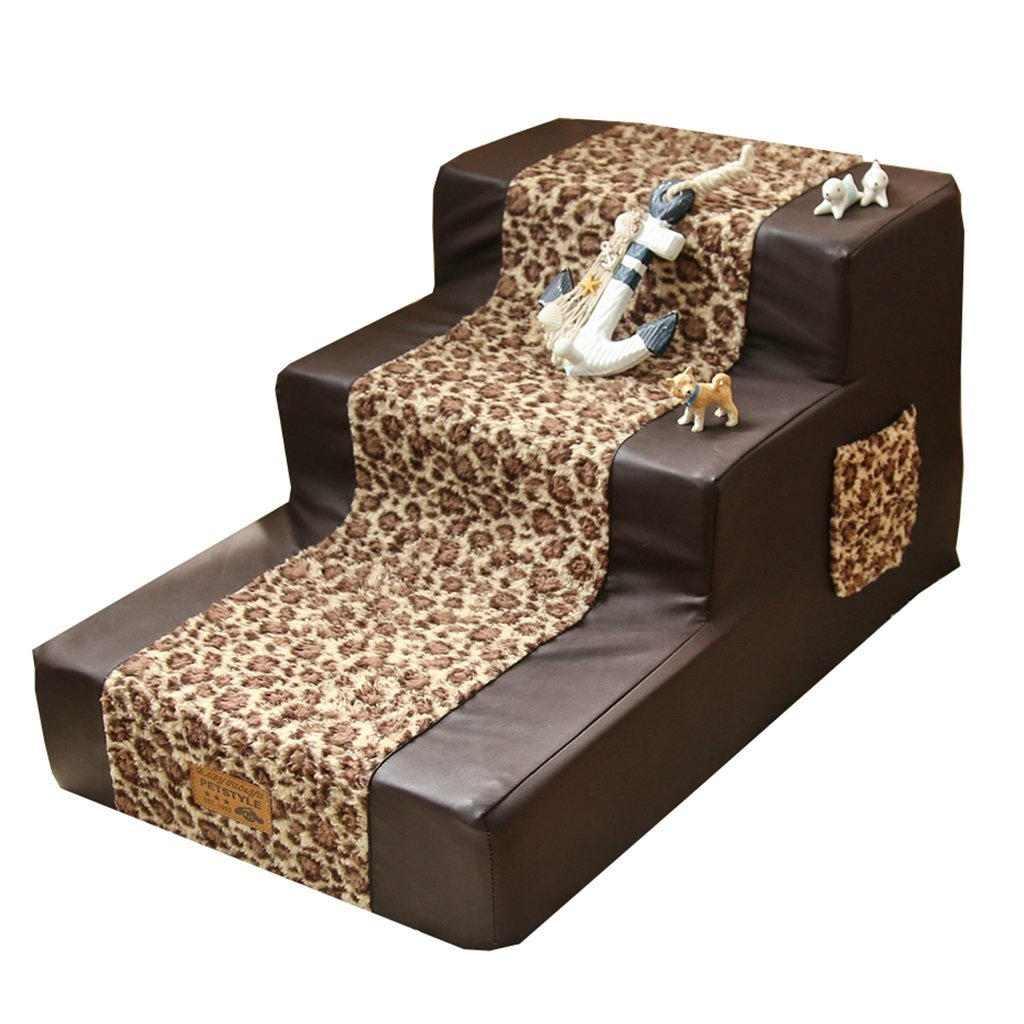 Step stool Pet Stairs For Cats For Tall Bed, 3 Step Sponge Leather Dog For Bed Sofa, Brown