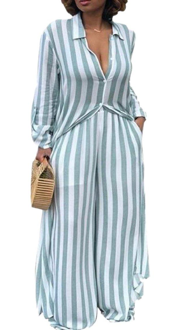 Gocgt Womens Stripe Button Down Shirt and Wide Leg Pants Two Piece Set