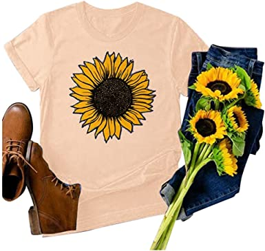 Sunflower Shirts for Women Casual Loose Plus Size Graphic Tees Summer Short Sleeve T Shirt Tee Tops