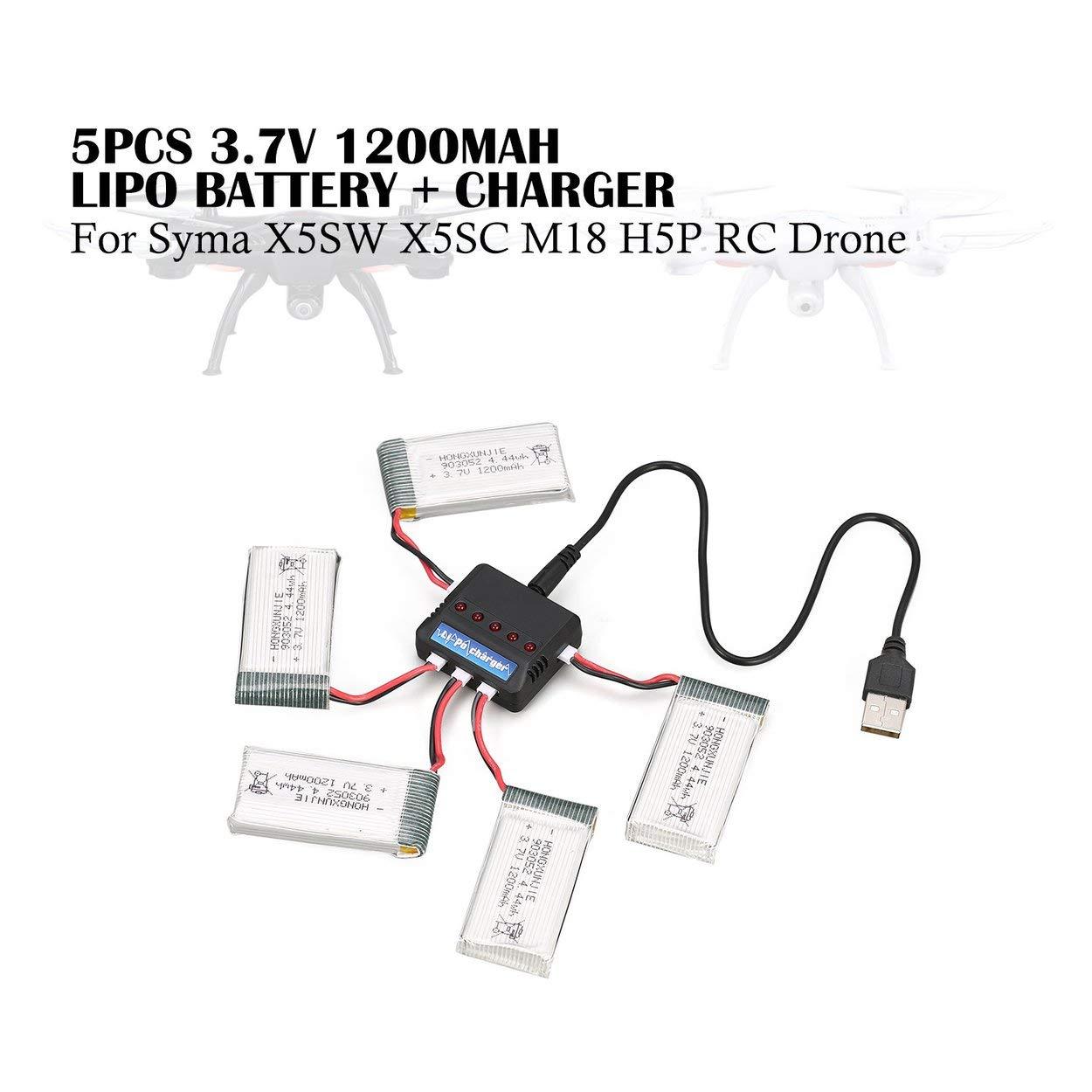 Tree-es-Life 5Pcs Recargable 4.44wh 3.7V 1200mAh Batería de Lipo + ...