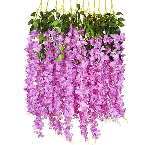 78165229be1 12 Pack 3.6 Feet/Piece Artificial Fake Wisteria Vine Ratta Hanging ...
