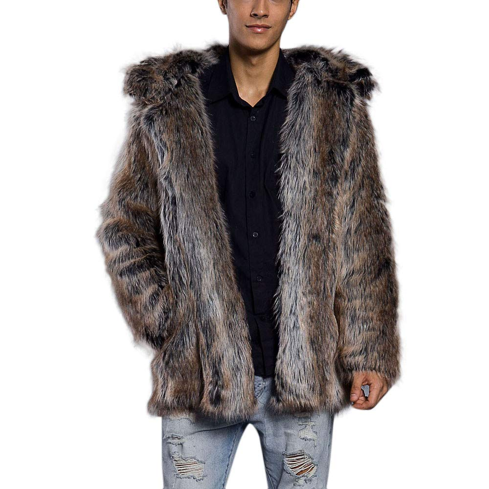 Limsea 2019 Mens Faux Fur Leopard Thick Warm Fur Collar Coat Jacket Parka Outwear Cardigan