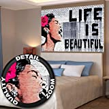 """Banksy - """"Life is beautiful"""" Wall paper - - Life is beautiful mural - Banksy Street-art wall decoration by Great Art 55 Inch x 39.4 Inch"""