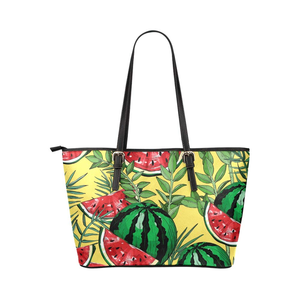 Painted Art Fresh Fruit Summer Watermelon Large Soft Leather Portable Top Handle Hand Totes Bags Causal Handbags With Zipper Shoulder Shopping Purse Luggage Organizer For Lady Girls Womens Work