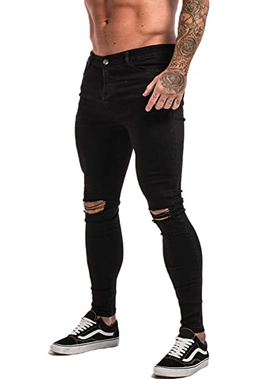 22c2b5186211 GINGTTO Black Skinny Ripped Jeans Men Super Skinny Stretch Denim Jeans Slim  Fit 28 Waist