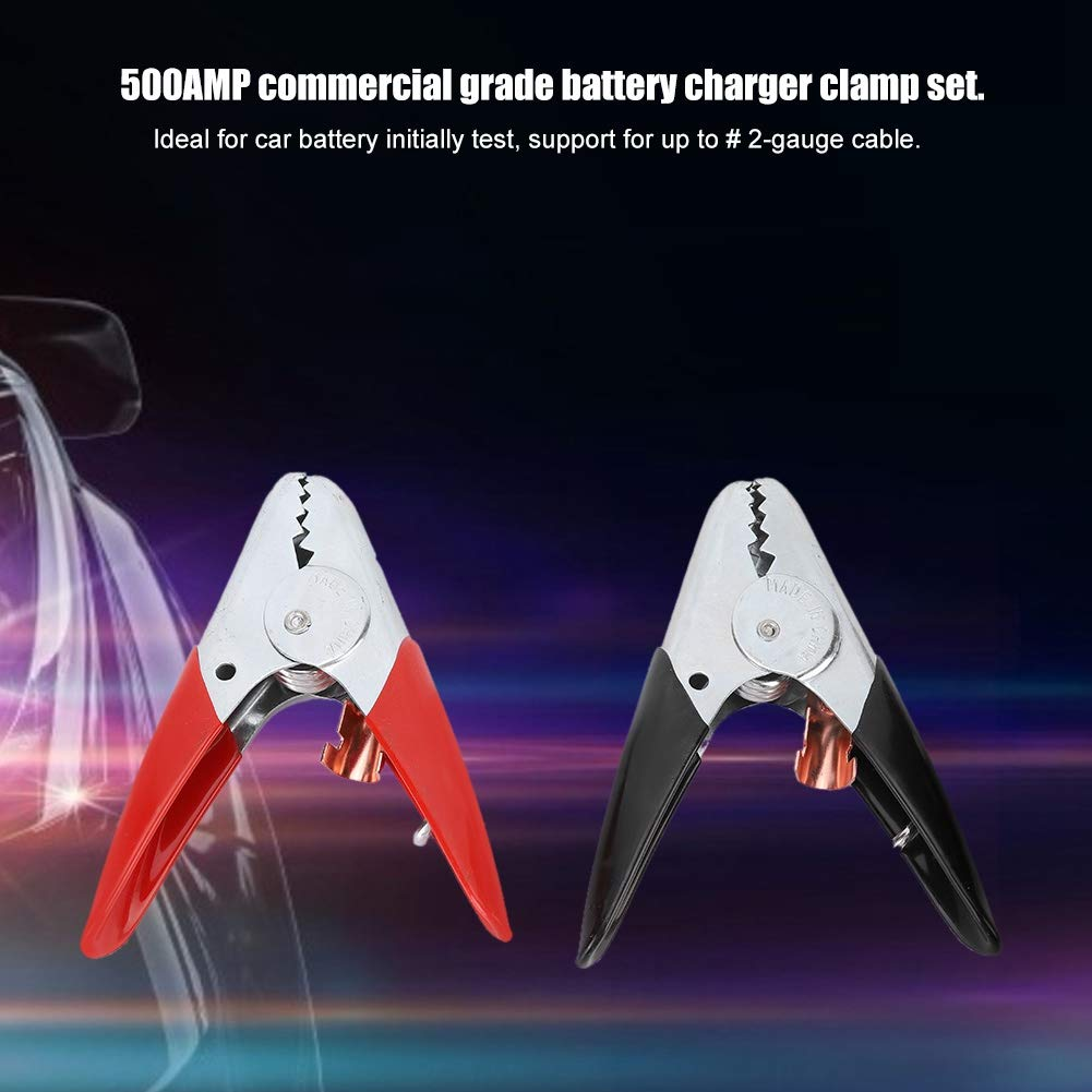 Akozon Battery Clip 500AMP Insulating Crocodile Clip Car Battery Charging Alligator Clamp 6V 12V