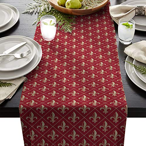 Linen Burlap Table Runner 18 x 72 Inch, Fleur De Lis Iris Damask Pattern with Vintage Geometric Diamond Lines Red Kitchen Table Runners For Farmhouse Dinner, Holiday Parties, Wedding, Events, Decor ()