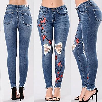 Pantalones Rotos Mujer Largos Sannysis Vaqueros Rotos Mujer Cintura Alta, Flor