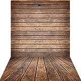 KonPon 5X10ft Brown Wood Floor Backdrops for Photography Wood Panel Backdrop Studio Photo Prop Background Woods KP-048