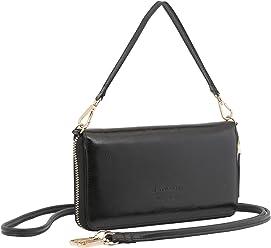 StilGut Smart Wallet en cuir - Pochette, sac, housse portable et sac à bandoulière, Noir Vintage