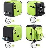 KitchenGynti WNC012 - Adattatore Universale da Viaggio All-in-one Caricatore Adattatore per US UK AU EU Multi-nationale Spina da Parete Universale Adattatore do Alimentazione Caricatore con 2 USB e fusibile di sicurezza(Verde)