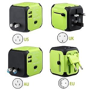 Adaptador de viagem universal All-in-one adaptador de carregador para EUA UK AU UE Multi-nacional universal adaptador de tomada de parede Plug Power carregador de alimentação com 2 USB e segurança Fuse (verde)