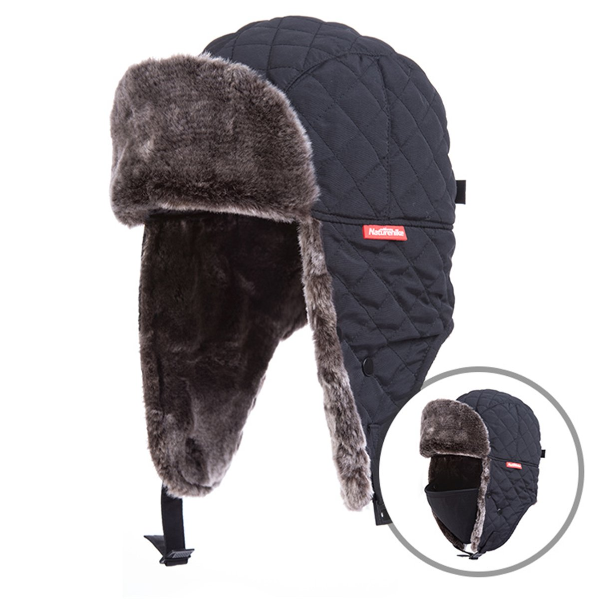 Azarxis Unisex Winter Trapper Hat Hunting Hat Ushanka Ear Flap Chin Strap with Windproof Mask (Black) by Azarxis (Image #1)