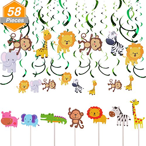 Jetec 28 Pieces Animal Cupcake Toppers Picks Jungle Animals Cake Toppers 30 Count Animals Hanging Swirl Decorations for Kids Baby Shower Forest Theme Birthday Wedding Party Cake Decoration (Cake Hanging)