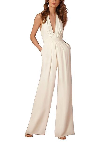 4f43c0cfcd9f Lylafairy Tuta con Pantaloni Lungo Vestito Abito Cerimonia da Donna  Elegante Casual  Amazon.it  Abbigliamento