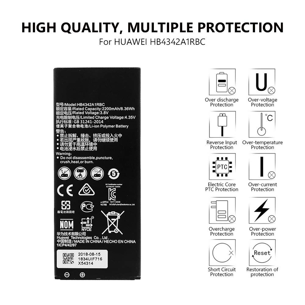 Amazon com: HB4342A1RBC Battery 3 8V 2200mAh for Huawei Y5II Y5 2