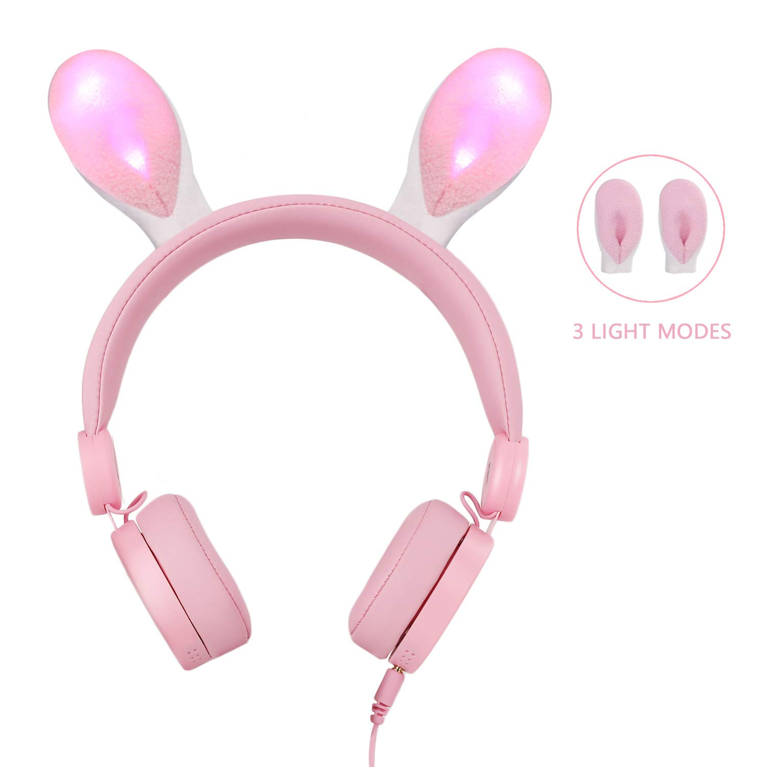 Kids Headphones, Jelly Comb Rabbit Wired On Ear Headphones with 85dB Volume Limited Hearing Protection & Music Sharing Function Headphones for Children-Pink (Pink)