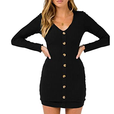 9748862d7959 Zyyfly Women Casual V Neck Dress Button Decorate Front Rib-Knit Long Sleeve  Dress S
