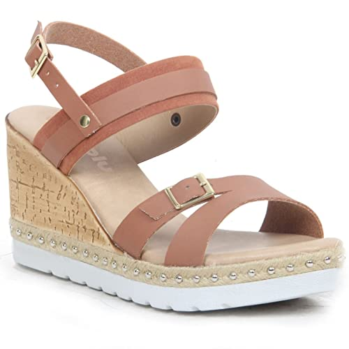 INBLU Da donna cuneo fibbia tacco alto scarpe Open toe sandali estivi, Marrone (Brown), 38 EU