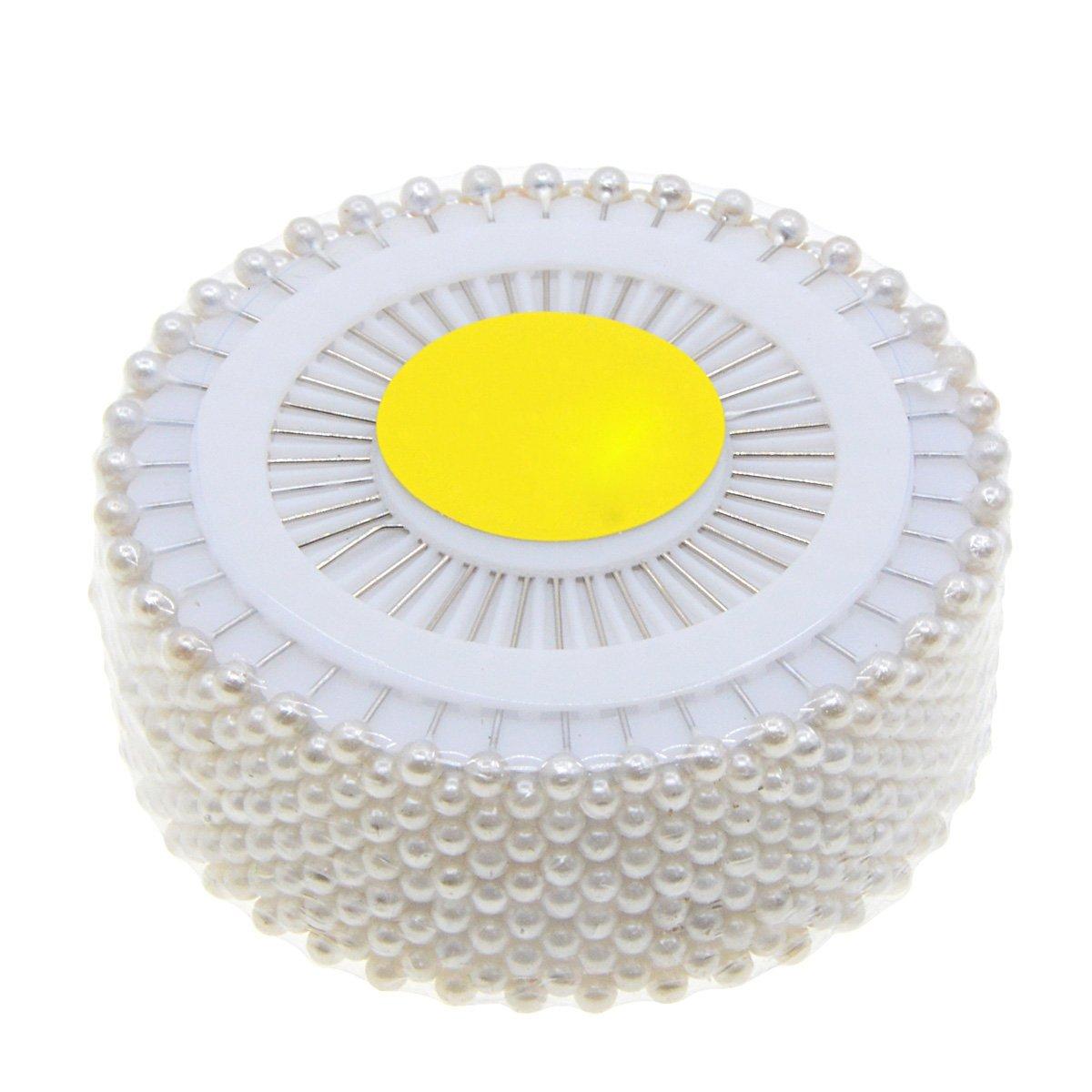 Saim 480pcs Decorative Round Faux Pearl Head Corsage Sewing Pins Straight Dressmaking Pins GG-G5IN-H401